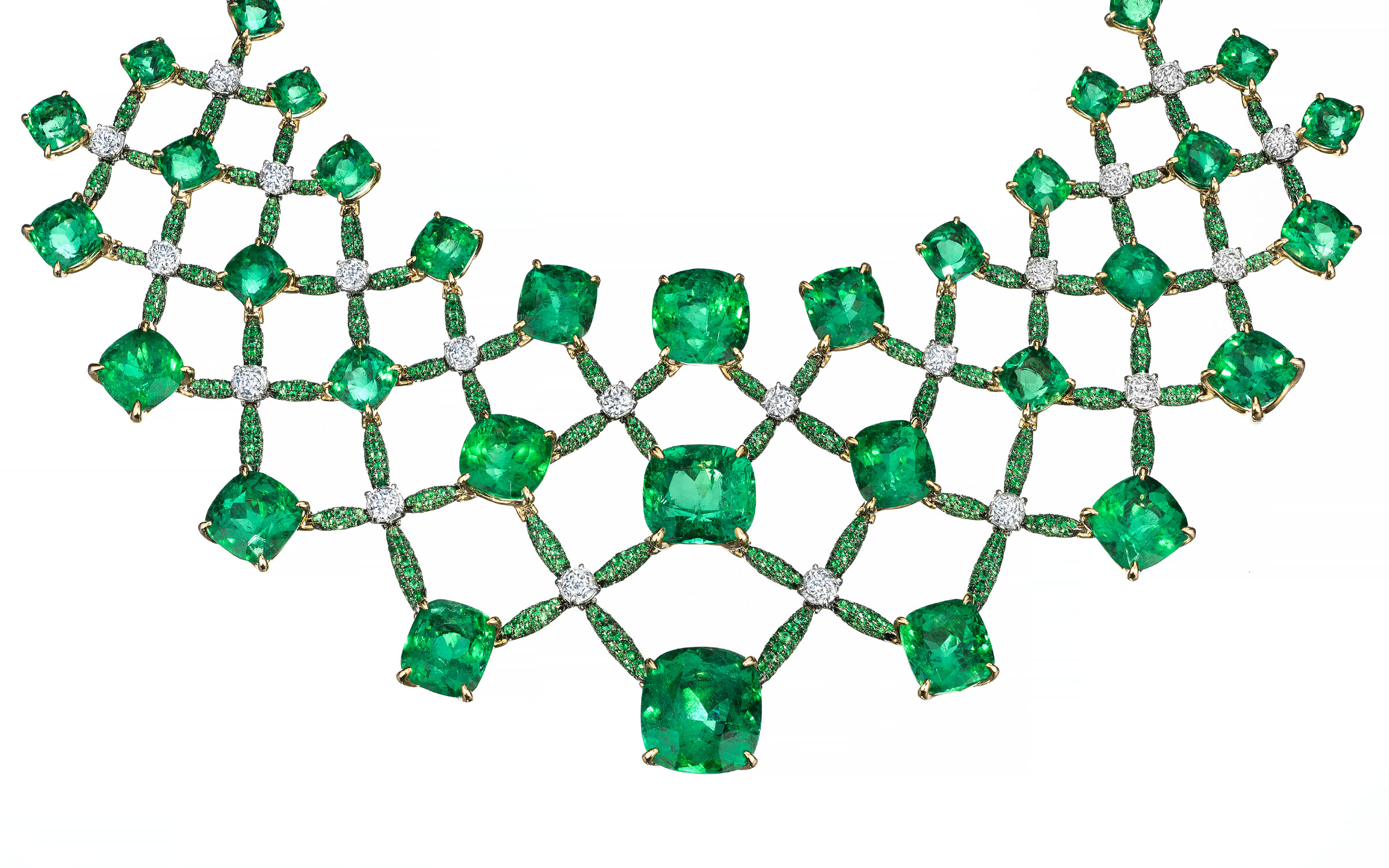 High end jewelry, one of a kind emerald necklace photography by still life photographer Zachary Goulko.