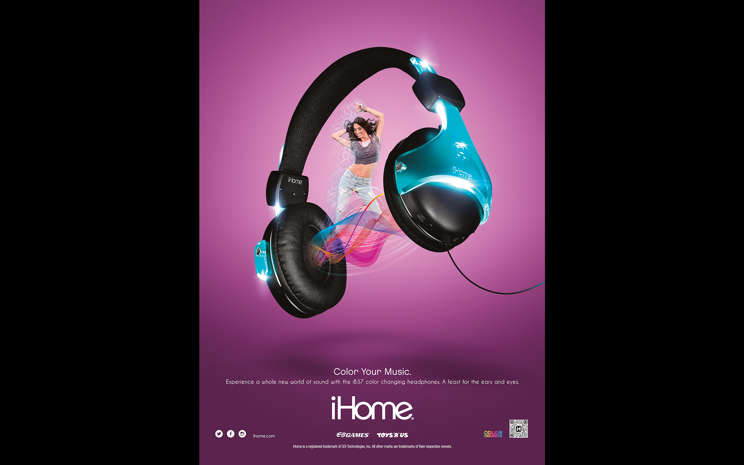 Product photography and still life photography of iHome headphones for an advertising campaign.