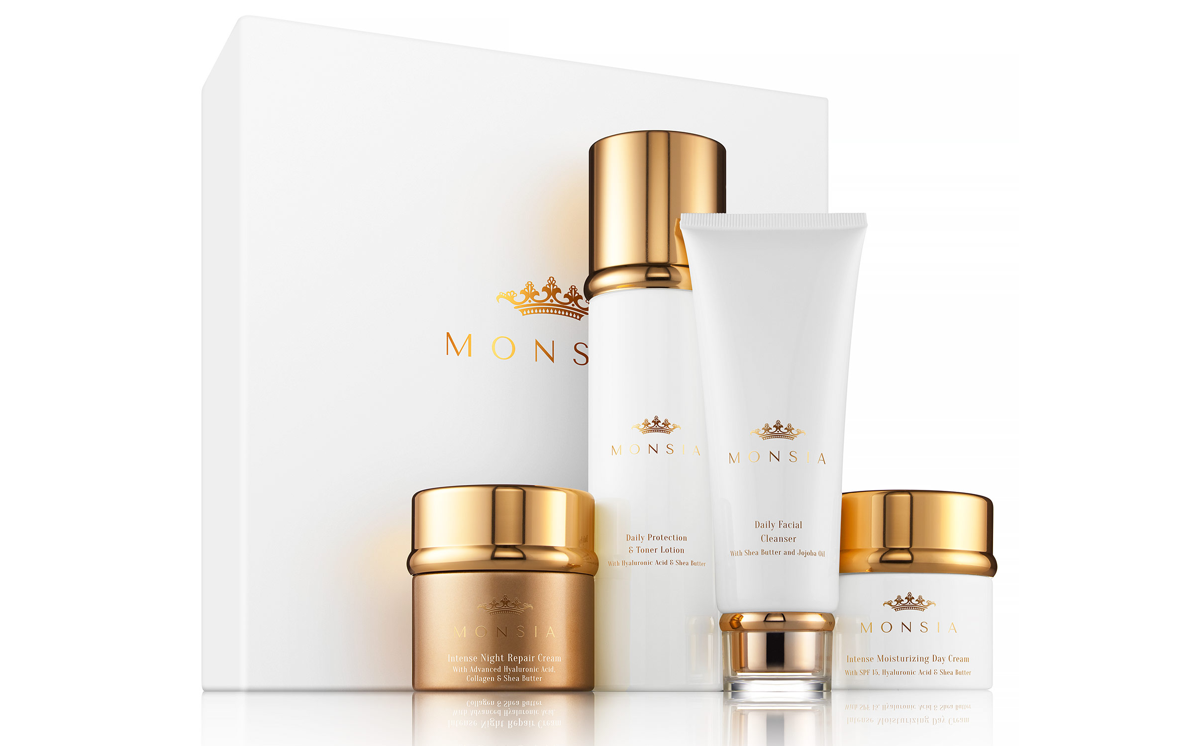 Cosmetics and skin care product photography for luxury skin care brand Monsia, shot by Zachary Goulko at his product photography studio located in the New York City area.
