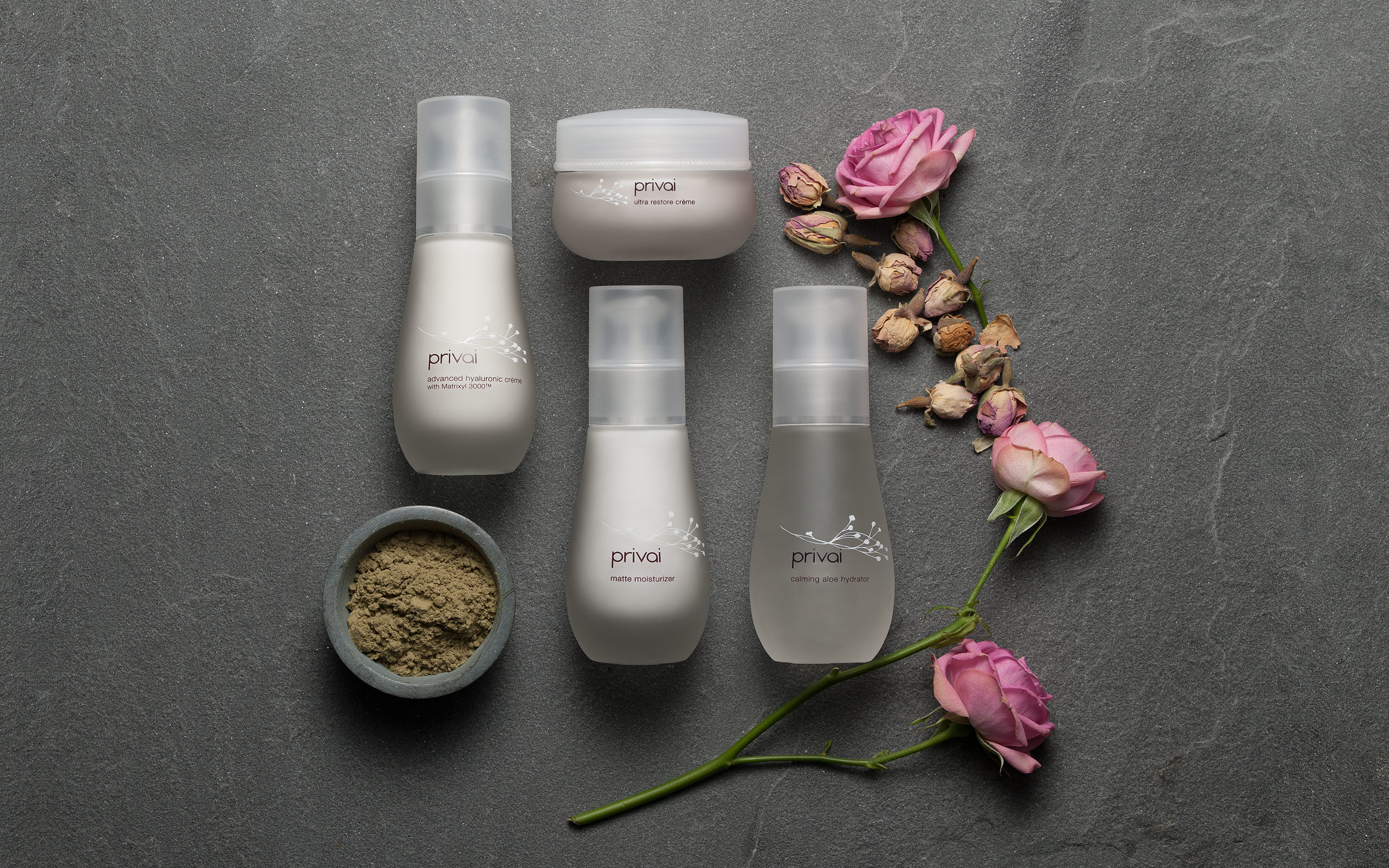 Product photography of the entire skin care line for Privai by Zachary Goulko